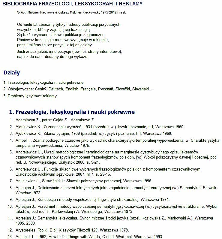Fragment Bibliografii frazeologii